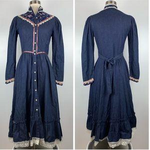 Vintage Gunne Sax Denim Floral Prairie Dress A3470